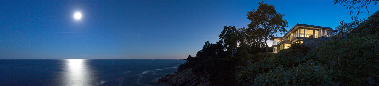 oceanfront, cliff, night, moon, sea